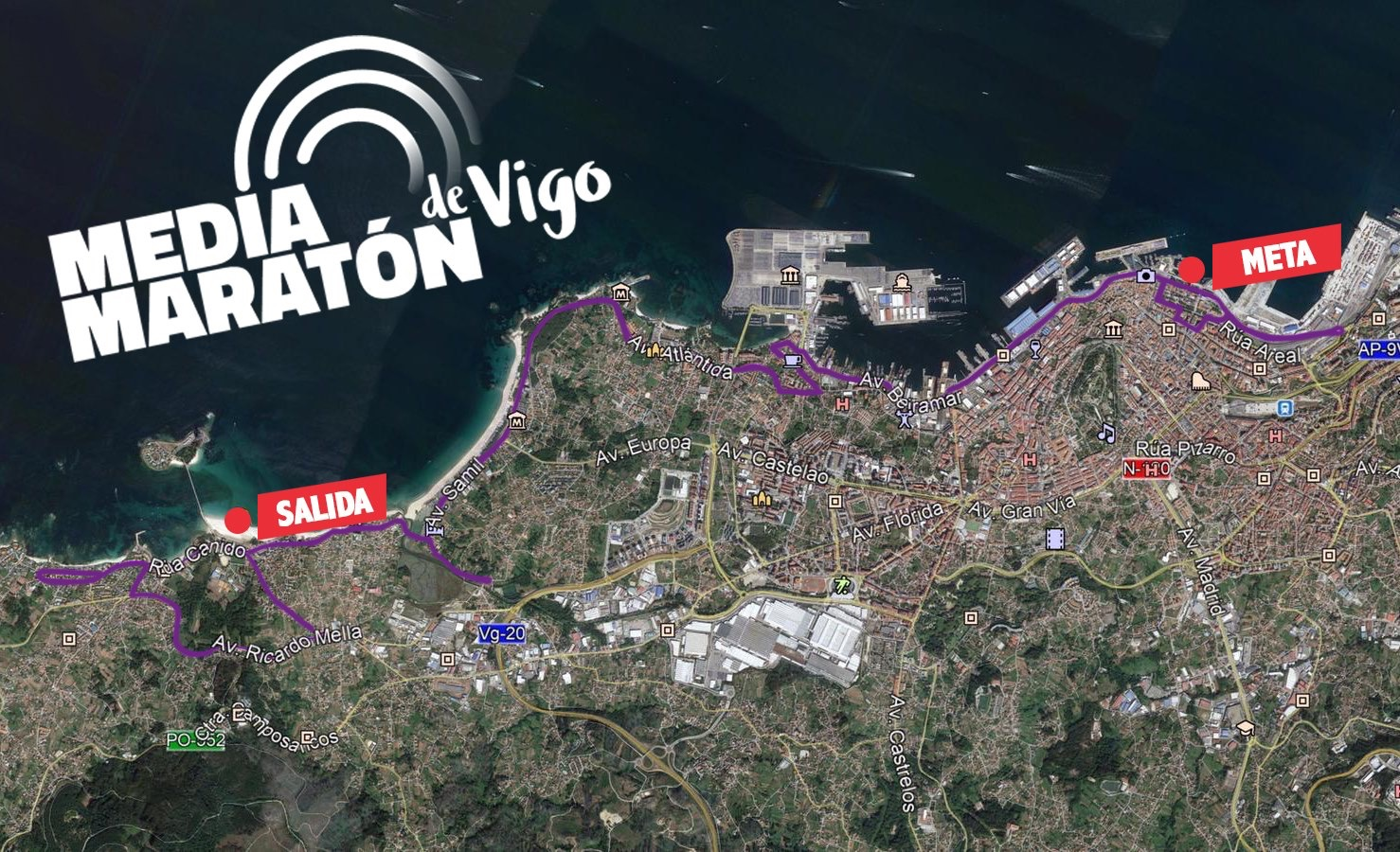 Recorrido definitivo 21 Media Maratón Vigo 17 noviembre 2019